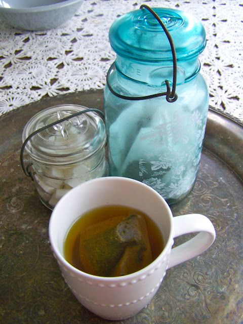 Tea Bags and Sugar Cubes stored in Old Wire-Bale Canning Jars ...