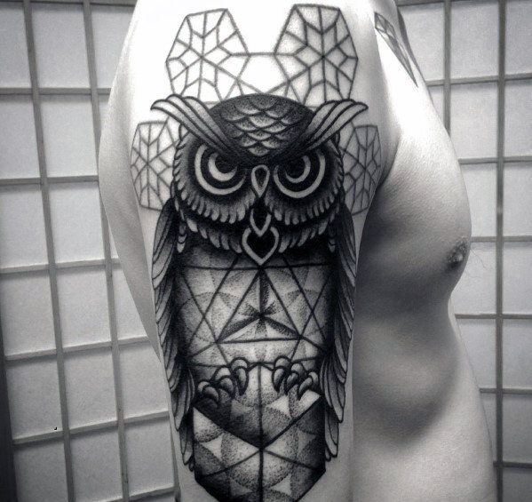 Manly geometric owl arm tattoo designs for men male for Geometric arm tattoos for men