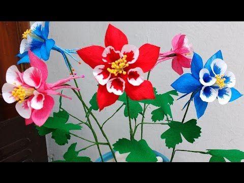 Paper flower columbine flower 81 youtube paper flowers how to make paper flowers columbine aquilegia flower mightylinksfo
