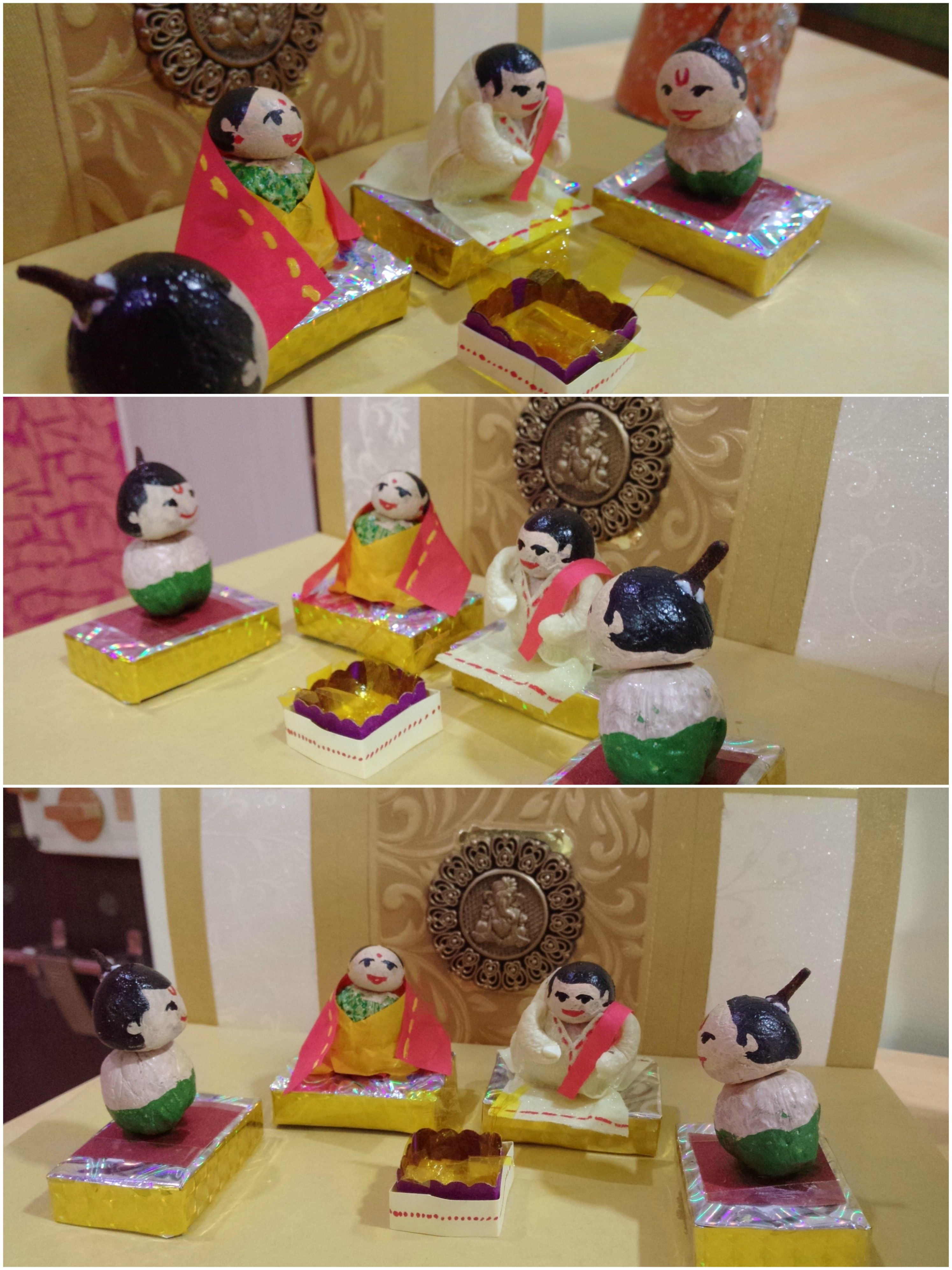 Kondapalli toys images  Bhatji  Poojari and a bride and groom performing vidhius is made