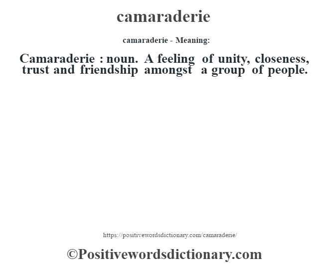 Camaraderie Definition Camaraderie Meaning Positive Words Dictionary In 2021 Positive Words Positive Quotes Positive Adjectives