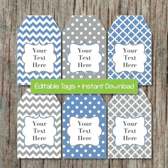 Editable Gift Tags Printable Party Labels Blue Grey By