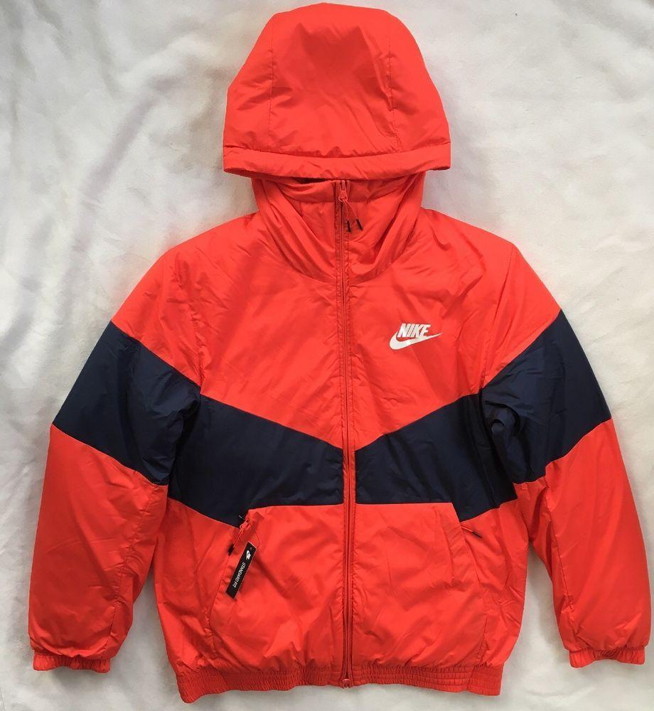 Nike Mens Sportswear Synthetic Fill Hooded Jacket Red 928861 140 Medium Large Nike Activewearbomberjacket Mens Sportswear Nike Men Red Jacket [ 1000 x 920 Pixel ]