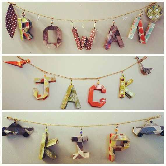 Personalize Name Banners With Origami Letters   Name Garland   Wall Art    Nursery Decoration
