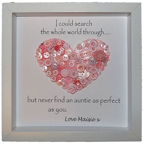 Personalised Auntie Gift Button Heart Art For Aunties With Quote Keepsake