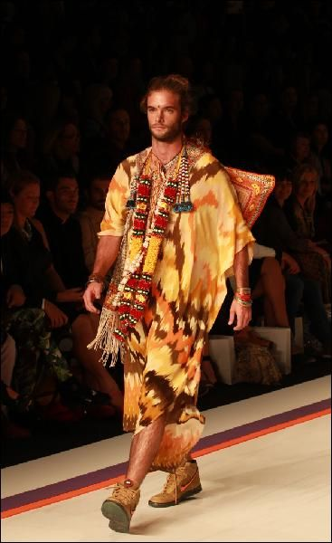 Male model Simon Nicholas sizzles in a 'mantan' at MBFWA for Camilla Franks. Photo: Cameron Richardson