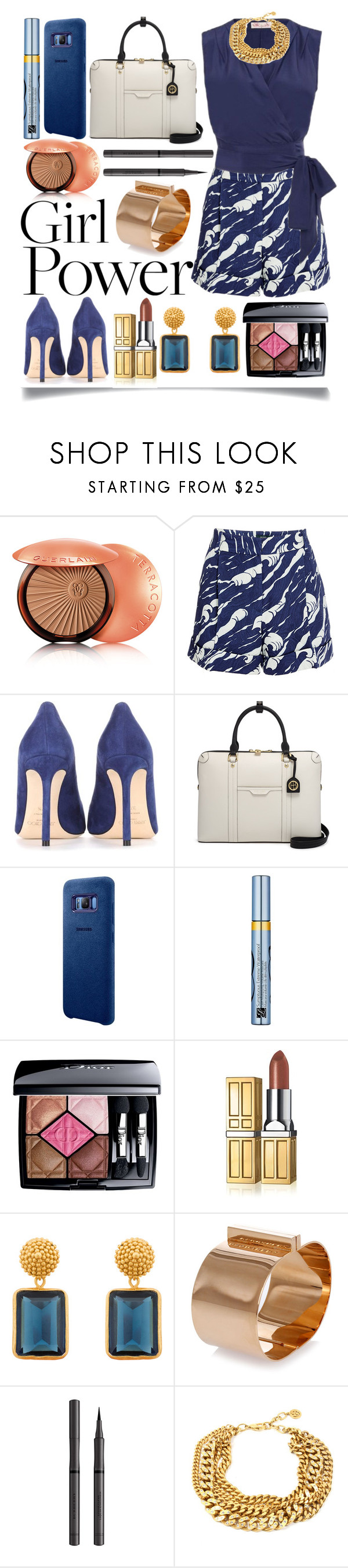 """My Power Look"" by ittie-kittie ❤ liked on Polyvore featuring Guerlain, Jimmy Choo, Henri Bendel, Samsung, Estée Lauder, Christian Dior, Elizabeth Arden, Julie Vos, Dsquared2 and Burberry"