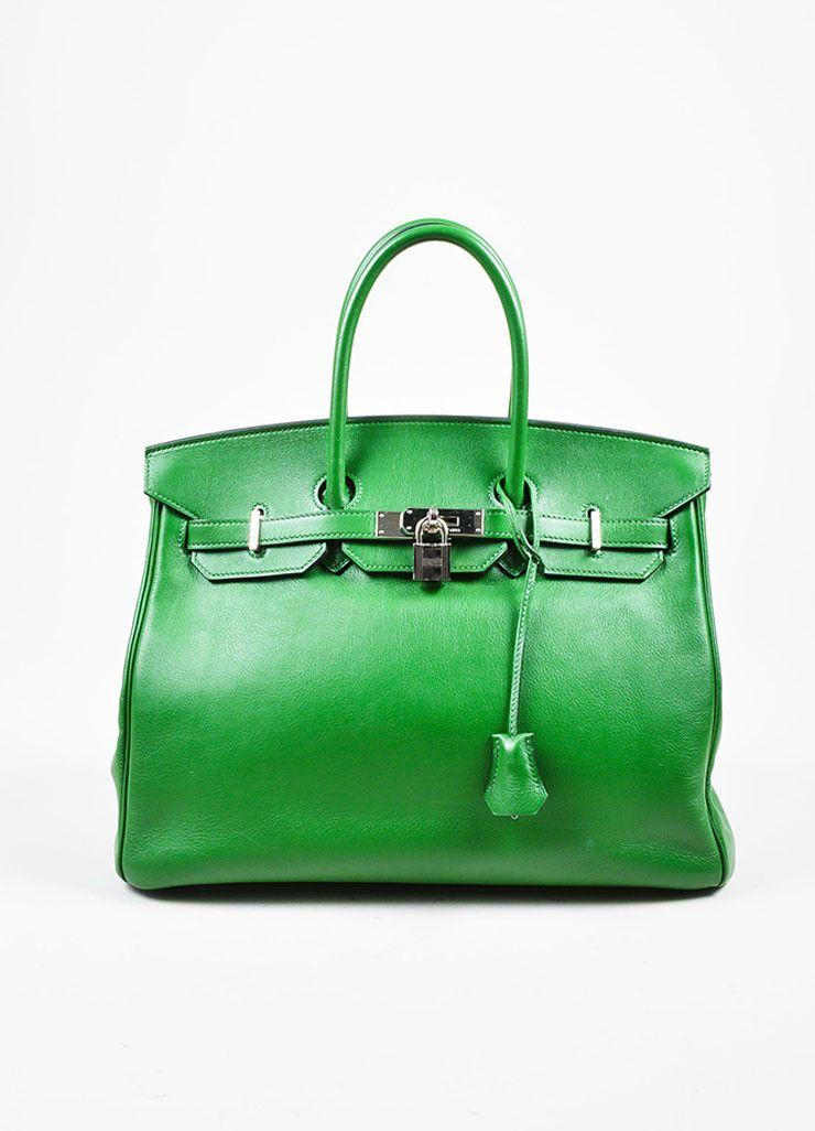 "Hermes Green SHW ""Vert Bengale"" Veau Swift Leather 35 cm ""Birkin"" Bag"