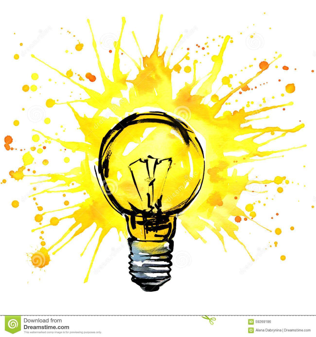 Http Thumbs Dreamstime Com Z Lightbulb Idea Concept Watercolor Illustration Hand Drawn Sign Splash Text Light Bulb Drawing Watercolor Illustration Light Bulb