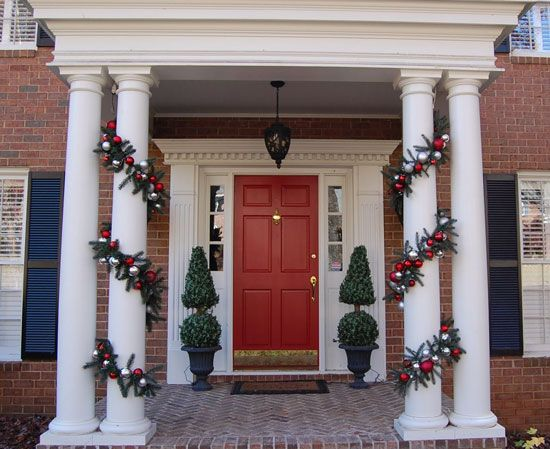 Front Porch Decorating Ideas For Winter Christmas Porch Decor Christmas Garland Outdoor Christmas Decorations