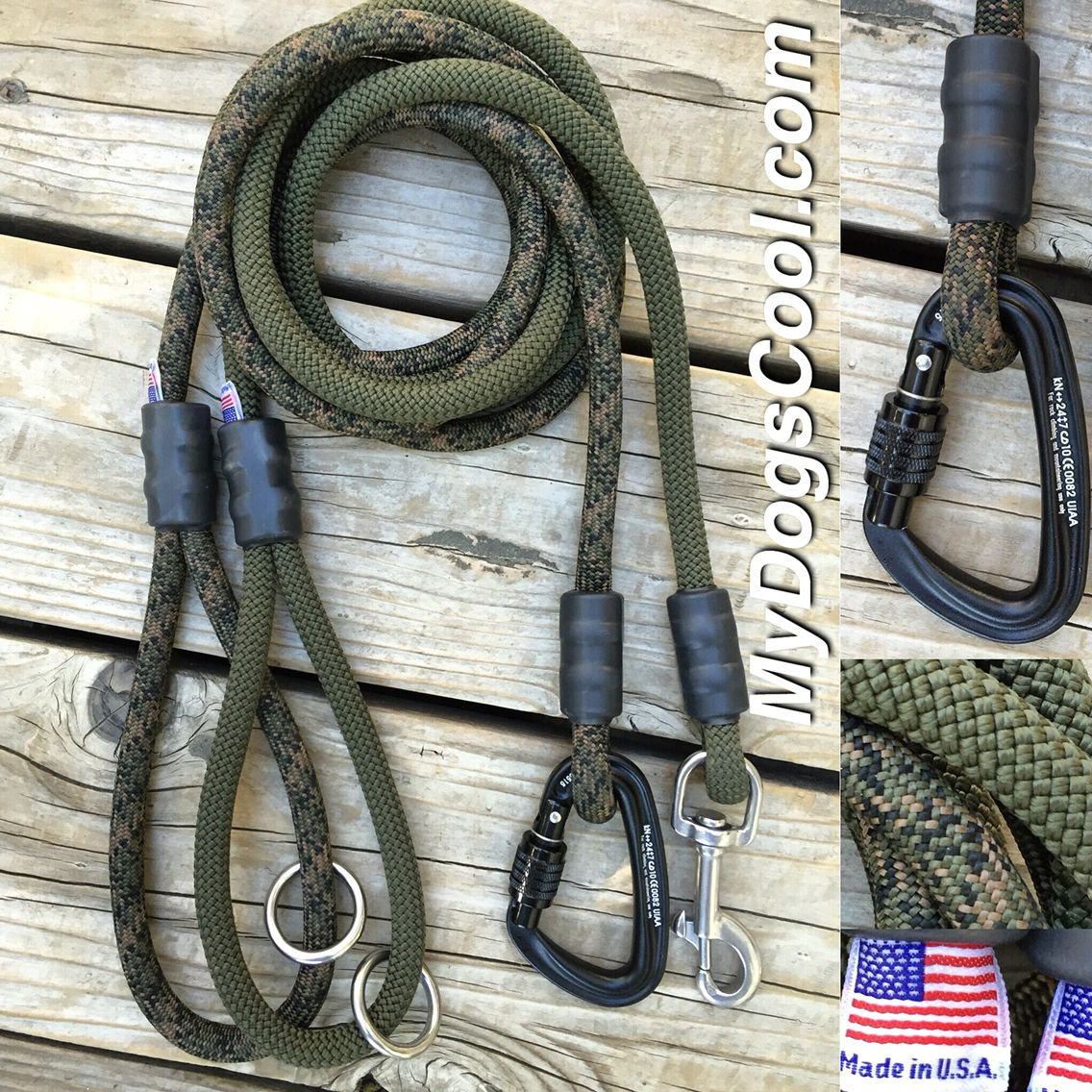 Forest Camo & OD Green Climbing Rope Dog Leash. http://mydogscool.com/store/leashes/forest-camo-dog-leash/ #ropeleash #dogleash