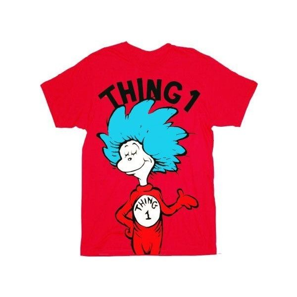 6cbbc4f8093d Dr. Seuss Thing 1 Thing 2 Adult Red T-shirt ($20) ❤ liked on Polyvore  featuring tops, t-shirts, shirts, red, red t shirt, red tee, tee-shirt, red  top and ...