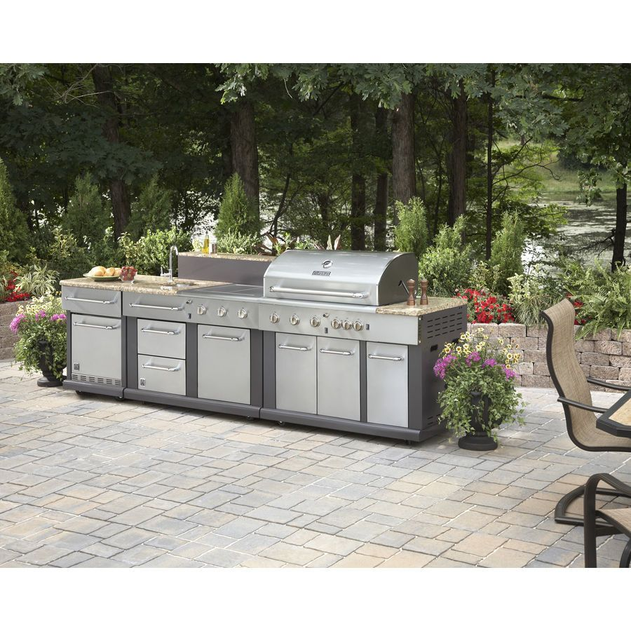 Details About Huge Outdoor Kitchen Bbq Grill Sink Refrigerator Ice Box Trash Can