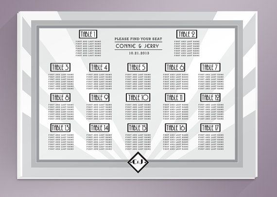Capture the glamour of Art Deco and classic cinema with this Old - free printable seating chart
