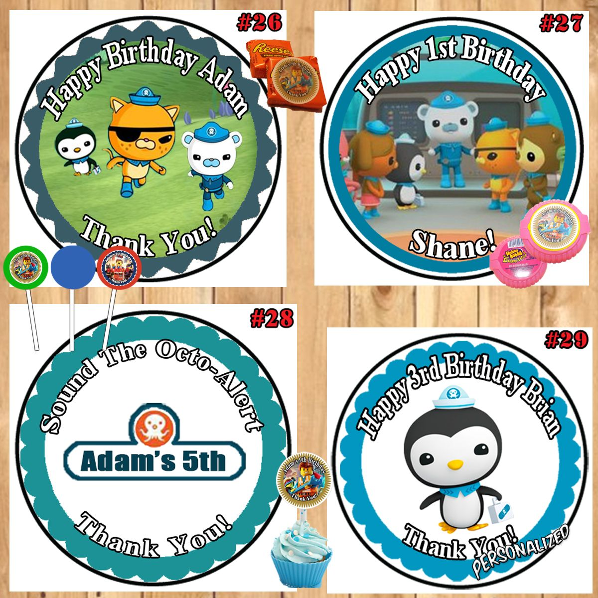 octonauts printed birthday stickers labels 1 sheet candy
