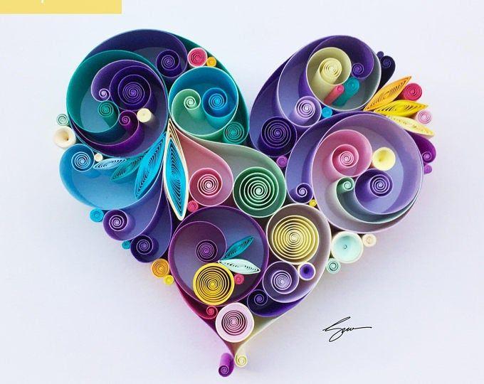 JJBLN Quilled Paper Art By Julide Belen: Quilled Paper Heart   Etsy
