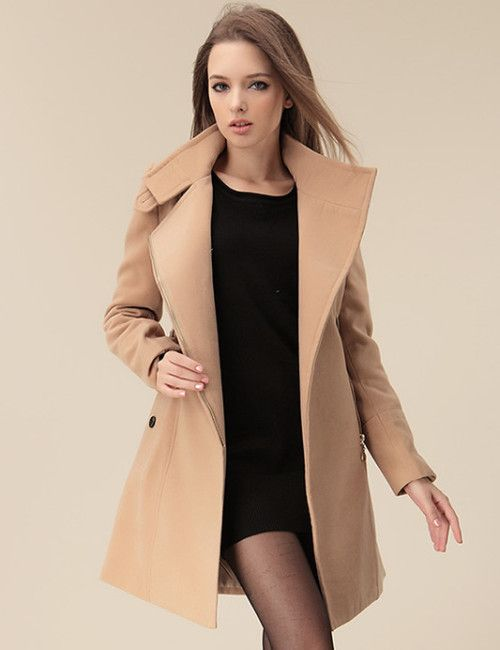 Europe Lady Fashion Slim Long Sleeve Belt Coat                        _Long Coats_Outerwear_Wholesalekingdom.net