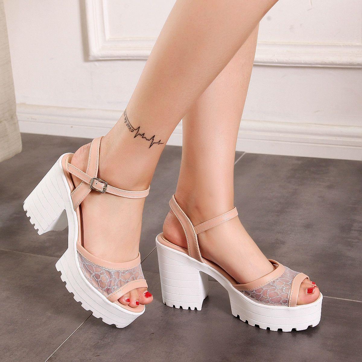 35d265c4634 Korean Sandals Women S Shoes High Block Heels Mesh Sweet Mary Janes  Platforms