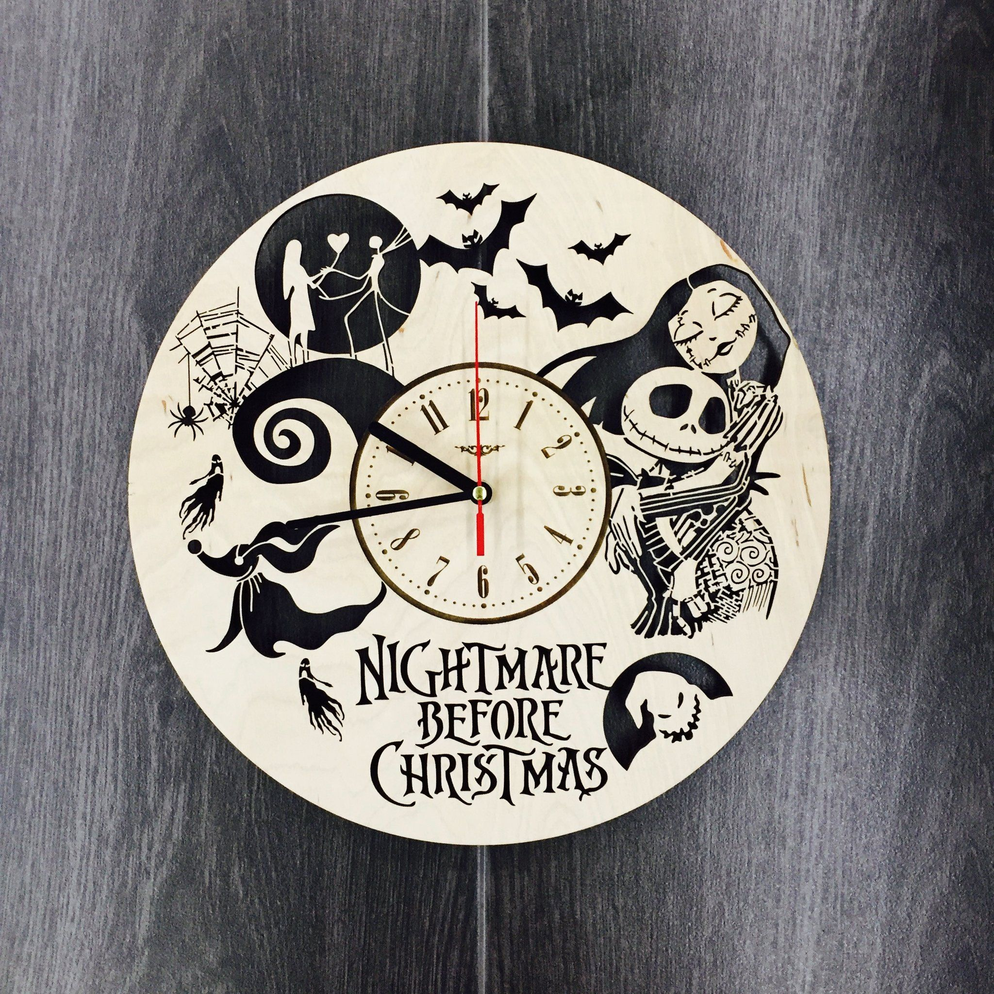 Cool Nightmare Before Christmas Gifts: Nightmare Before Christmas Wall Wood Clock $31.99 Size