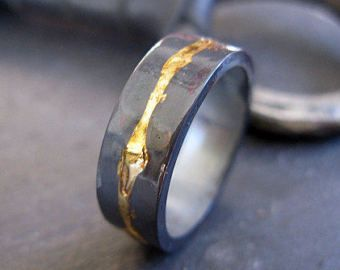 Mens Wedding Band Rustic Ring 8mm Oxidized Rings Unique