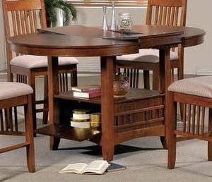 Brown mission counter height round butterfly leaf table for Round table with butterfly leaf