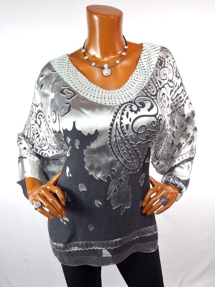 d8b0779e414 CHICO'S TRAVELERS Sz 2 Top M L SILK Tunic Blouse Casual Shirt Black Silver  Gray #Chicos