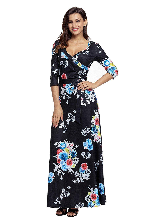 sleeve v neck wrapped long black floral dress black floral