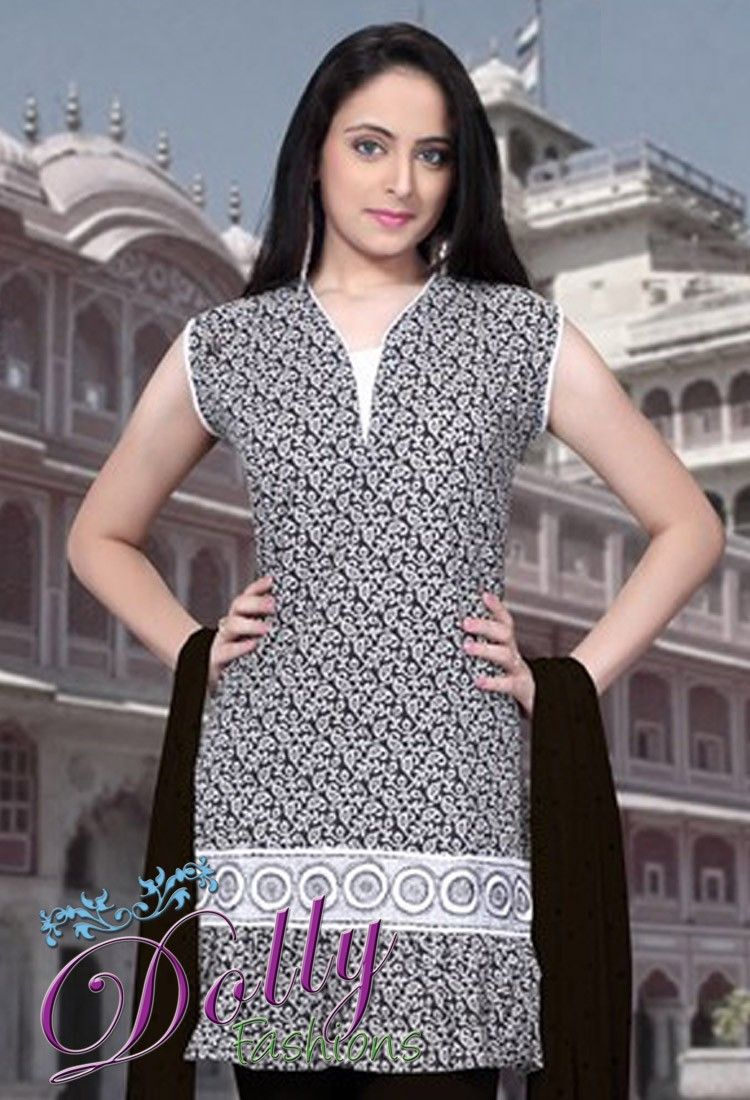 Black & White Long Embroidered Cotton Kurti/ Indian Tunic Top
