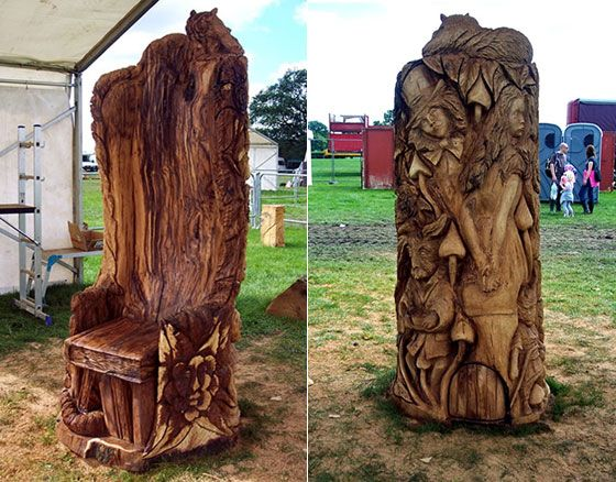 Amazing chainsaw carved wooden chair carvings