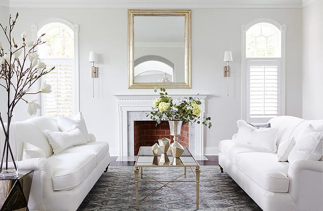 Beau Clean Traditional Design. White Room, White Linen Sofa, Beautiful Rug, Gold  Accents.