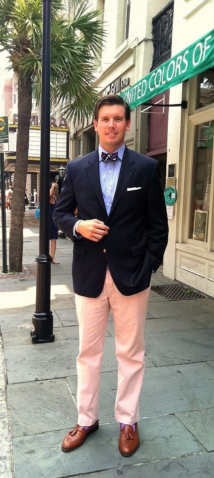 Men's Navy Blazer, Light Blue Dress Shirt, Pink Dress Pants, Brown ...