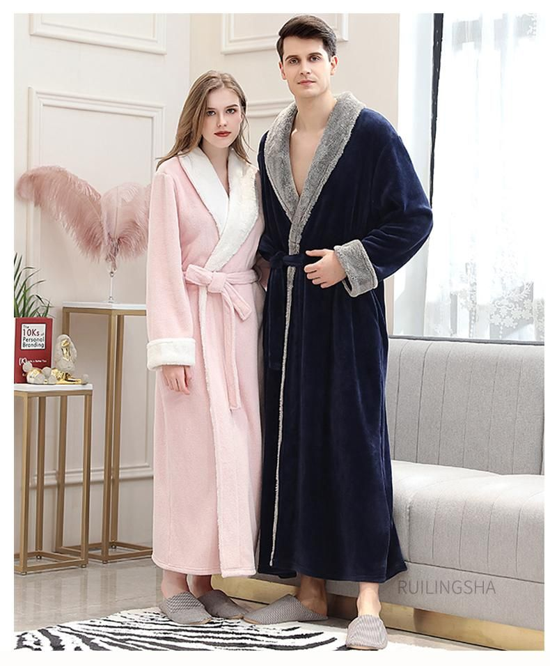 Mens Gown Robe Luxury Coral Fleece Shawl Collar Soft Dressing Night//Lounge Wear
