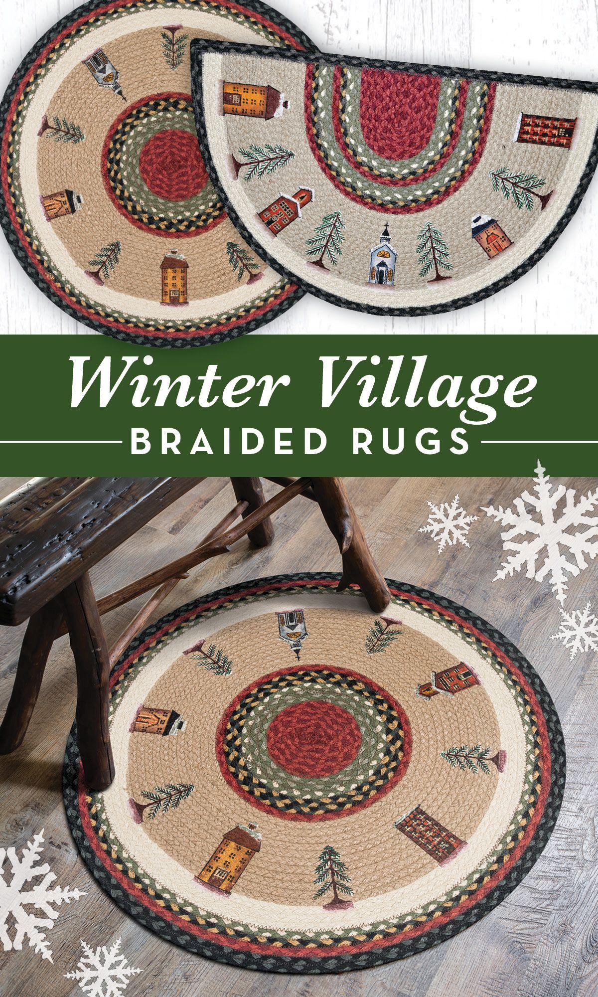 Rp 338 Winter Village Round Rug Round Rugs Braided Jute Rug Rugs