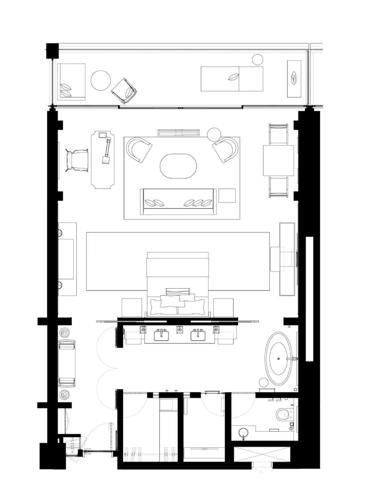 Mandarin Oriental Jumeira Dubai Junior Sea View Suite 89 Sqm 958 Sqf Hotel Room Design Plan Hotel Suite Plan Hotel Room Plan
