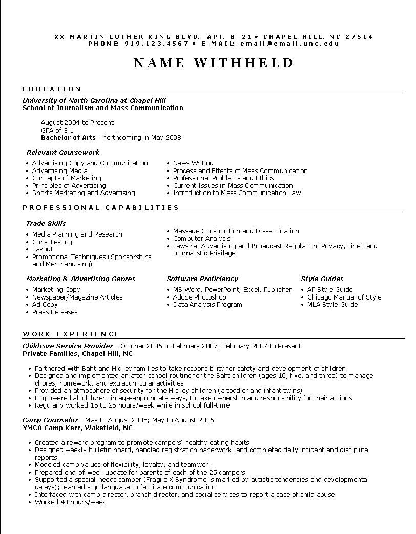 Functional Resume Emphasizes your skills focuses on areas of competence Without reading