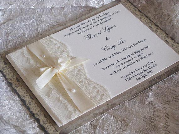 Spring Sale Rustic Wedding Invitation Lace Wedding Invite Wedding