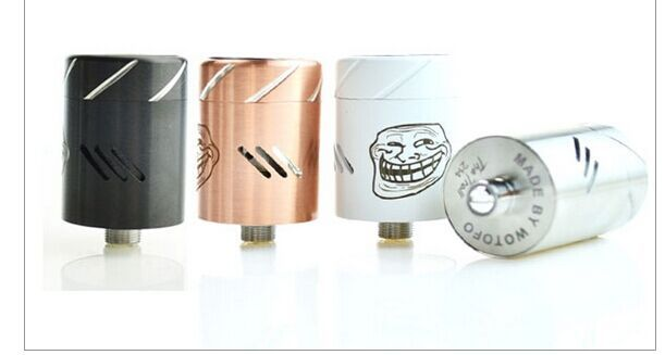 Troll RDA V1.5 :Stainless steel Construction 22mm diameter 3 gigantic airflow slits shaped in a pattern to induce swirling effect Top cap adjustable airflow control is a slicing blade style, which slides the airflow holes in an angle, again to induce more swirling effect Ultra deep juice well Four post design for ease of build Top cap is designed to disburse heat more efficiently Removable deck for easy building This RDA is gear toward cloud chasing
