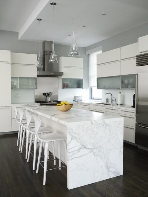 Exellent White Kitchen Dark Floors On A Bespoke Square Green