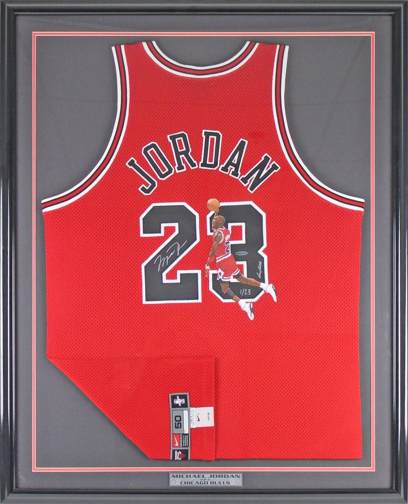 1fe53ea1247 Bulls Michael Jordan Signed   Painted Framed Nike Jersey LE  1 23 UDA   BAG56052  michaeljordan  autographs