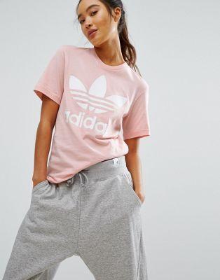 Adidas adidas originali rosa trifoglio ragazzo t - shirt vestiario -