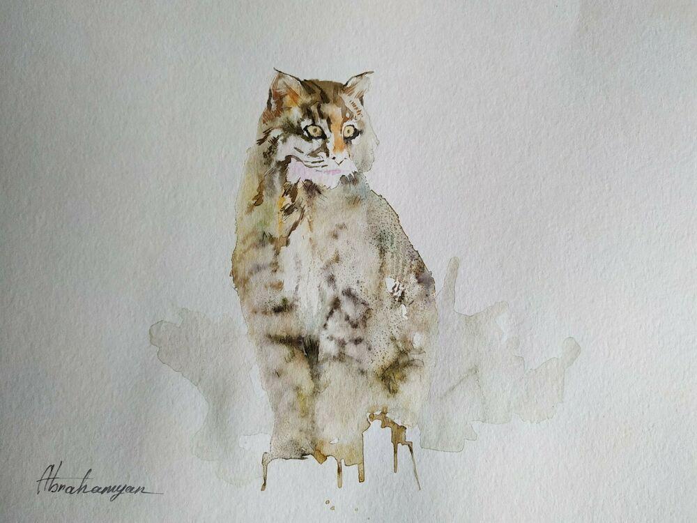 Snow Leopard, Animal, Watercolor artwork, Handmade, Original painting on paper #Realism