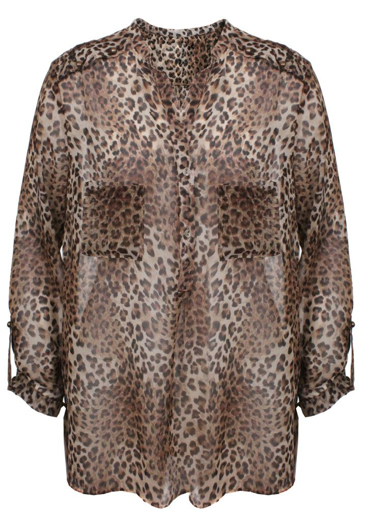 Animal Roll-Up Sleeve Chiffon Blouse Sale | Royal Mint