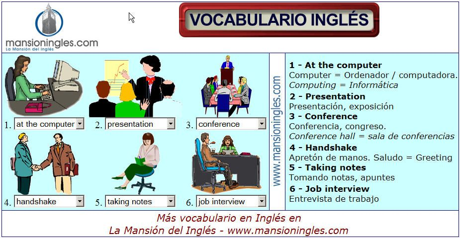 Vocabulario en ingl s de la oficina y los negocios for Oficina en ingles
