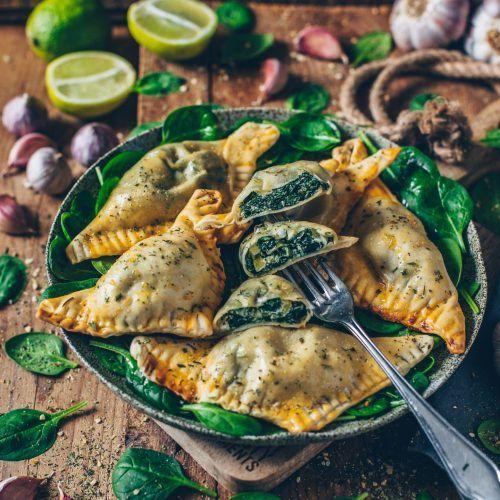 Vegane Teigtaschen mit Spinat und Cashew-Ricotta #chinesemeals