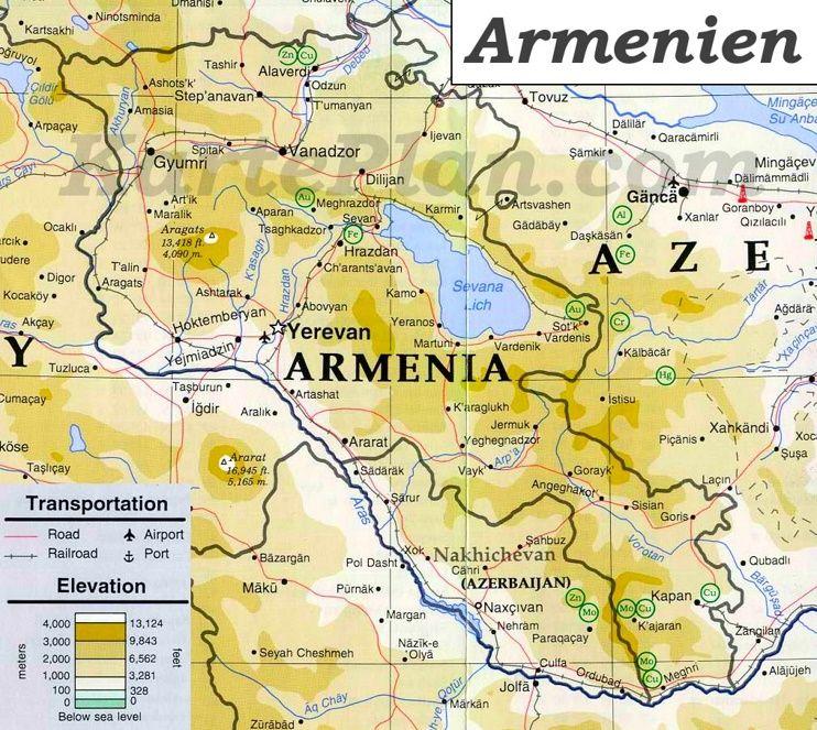 Physische Landkarte Von Armenien Landkarte Karten Armenien
