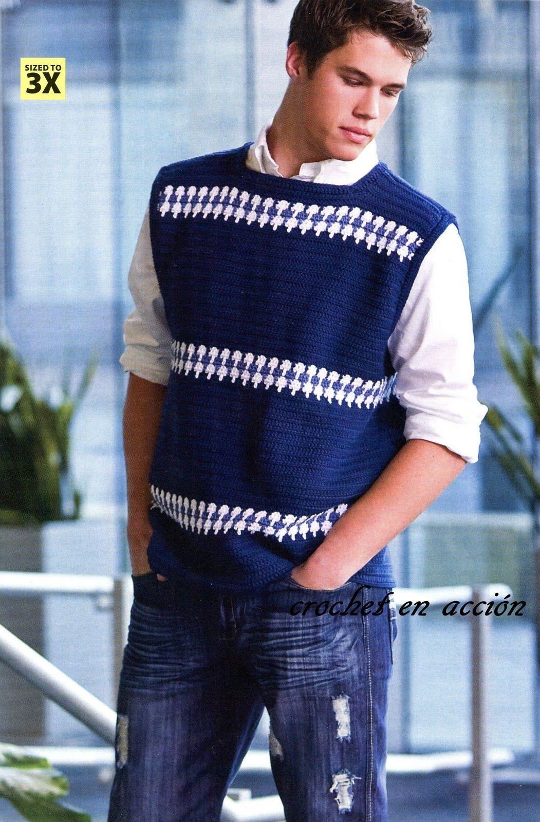 Pin de Shana Swan en Crochet for Men   Pinterest   Chalecos hombre ...