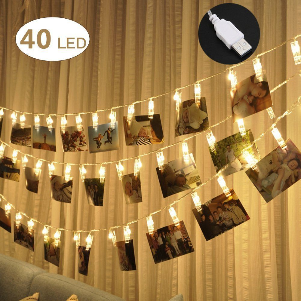 40 LED Photo Clips String Lights - Adecorty USB Powered Christmas ...