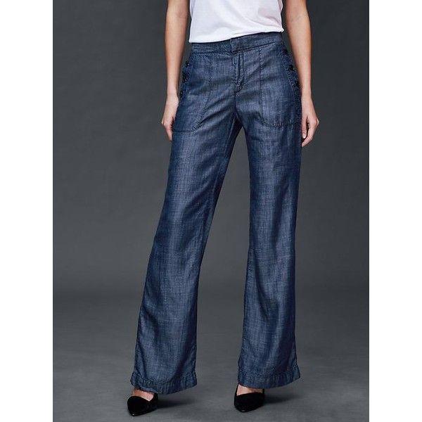 e8f4eb4239a Gap Women Tencel Wide Leg Sailor Pants ( 70) ❤ liked on Polyvore featuring  pants