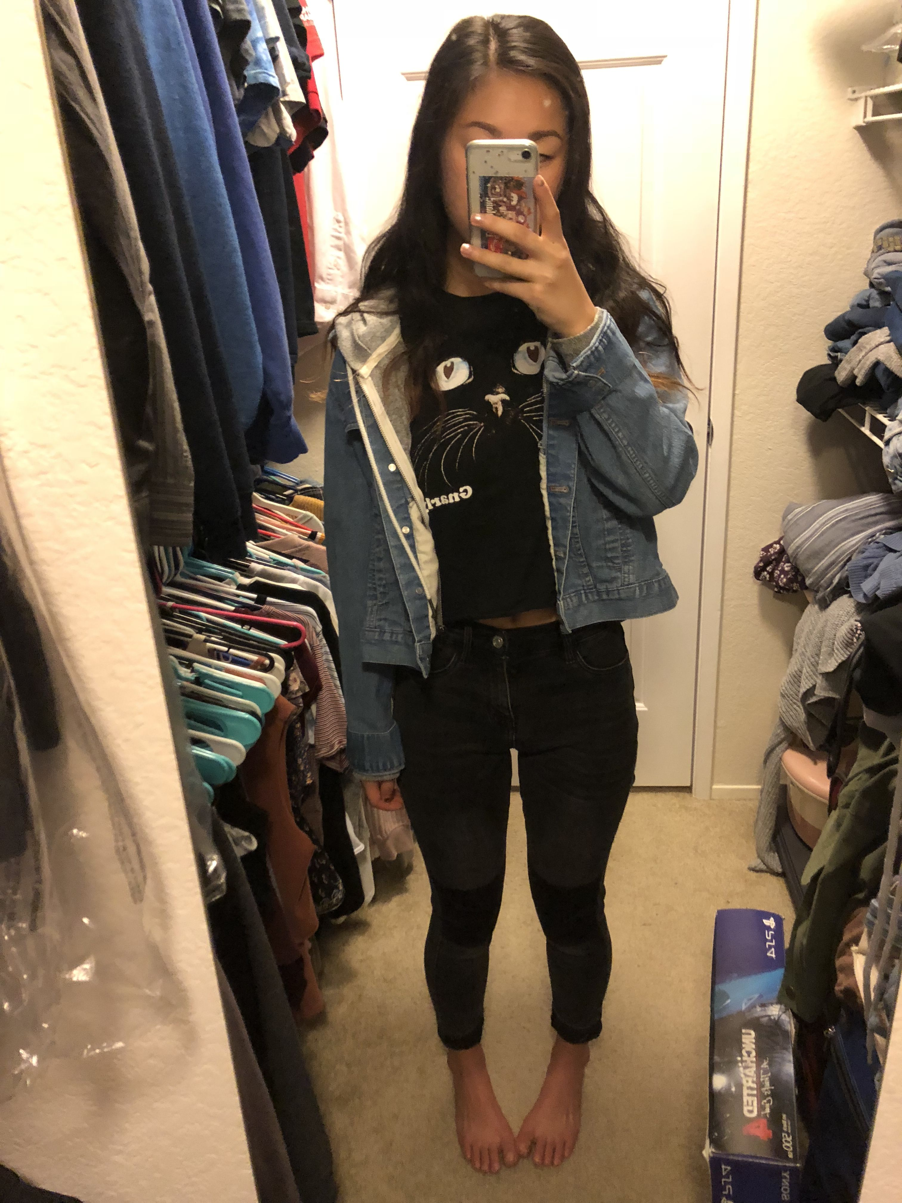 Jean Jacket Cropped Graphic Tee Black Jeans Fashion Clothes Women Cute Winter Outfits Fashion [ 4032 x 3024 Pixel ]