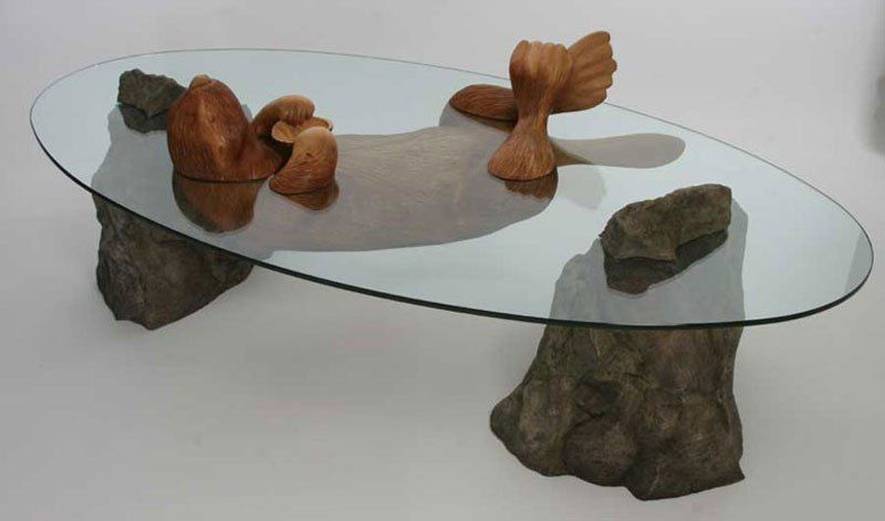 Amazing Coffee Tables Where The Glass Is Water And The Base Is An Animal Tavoli Mobili Oggetti